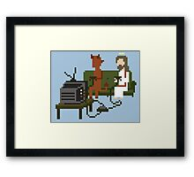 Jesus And Devil Playing Video Games Pixel Art Framed Print