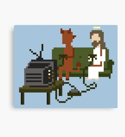 Jesus And Devil Playing Video Games Pixel Art Canvas Print