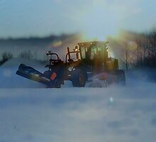 Snow Plowing at Sunset by MaeBelle