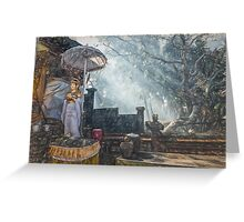 Temple Bathed in Sunlight through Smoke Greeting Card