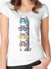 Cats In Glasses Pile Pixel Art Women's Fitted Scoop T-Shirt