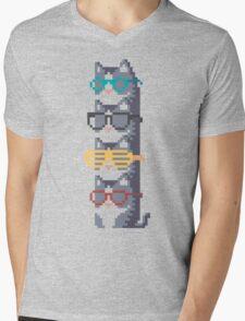 Cats In Glasses Pile Pixel Art Mens V-Neck T-Shirt