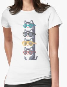 Cats In Glasses Pile Pixel Art Womens Fitted T-Shirt
