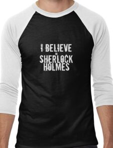 I Believe in Sherlock Holmes - White  Men's Baseball ¾ T-Shirt