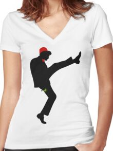 The [11th] Doctor of Silly Walks Women's Fitted V-Neck T-Shirt