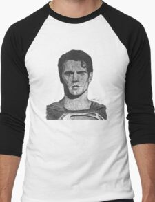 Ballpoint pen drawing of Superman Men's Baseball ¾ T-Shirt