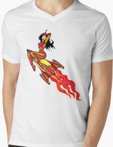 Beautiful Space Girl Riding Rocket Mens V-Neck T-Shirt