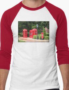British Red Telephone Box And Pillar Box Men's Baseball ¾ T-Shirt
