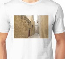 The Silent City - Big Walls Closing in and an Inviting Red Door in Mdina, Malta Unisex T-Shirt