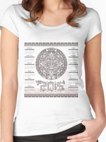 2015 Aztec Style Calendar Women's Fitted Scoop T-Shirt
