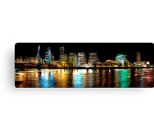 Portland Oregon Nightscape Abstract Oil Painting Canvas Print