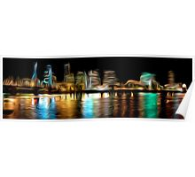 Portland Oregon Nightscape Abstract Oil Painting Poster
