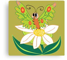Butterfly on flower cute cartoon Canvas Print