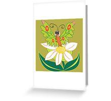 Butterfly on flower cute cartoon Greeting Card