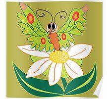 Butterfly on flower cute cartoon Poster