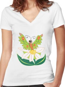 Butterfly on flower cute cartoon Women's Fitted V-Neck T-Shirt