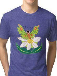 Butterfly on flower cute cartoon Tri-blend T-Shirt