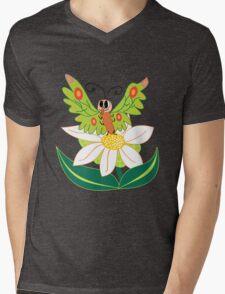 Butterfly on flower cute cartoon Mens V-Neck T-Shirt