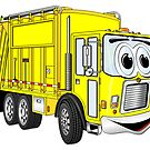 Yellow Cartoon Garbage Truck by Graphxpro