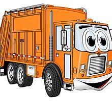Orange Smiling Garbage Truck Cartoon by Graphxpro