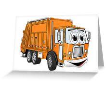 Orange Smiling Garbage Truck Cartoon Greeting Card