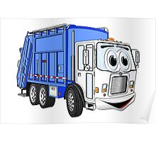 Blue White Smiling Garbage Cartoon Poster