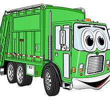 Bright Green Smiling Garbage Truck Cartoon by Graphxpro