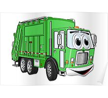 Bright Green Smiling Garbage Truck Cartoon Poster