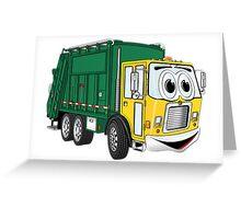 Green Gold Smiling Garbage Truck Cartoon Greeting Card