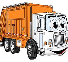 Orange White Smiling Garbage Cartoon by Graphxpro
