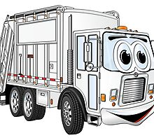 White Smiling Garbage Truck Cartoon by Graphxpro