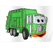 Silly Smiling Garbage Truck Cartoon Poster