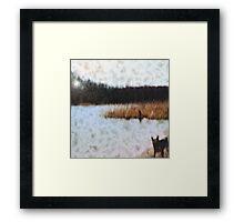 Wood, Dog and Sea Framed Print
