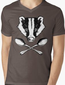 Badger and Spoons Mens V-Neck T-Shirt
