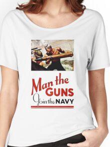 World War II Poster - Man the Guns Women's Relaxed Fit T-Shirt