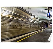Trains go by at Museum station Poster