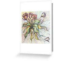 Bridal Bouquet.Hand drawn watercolor and ink drawing Greeting Card