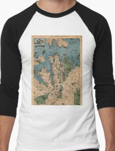 Vintage Map of Sydney Australia (1922) Men's Baseball ¾ T-Shirt