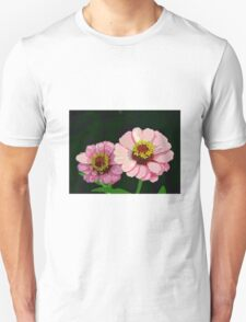 Modern Stylized Pink Zinnias Silk Screen Unisex T-Shirt