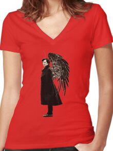 side of angels -large Women's Fitted V-Neck T-Shirt