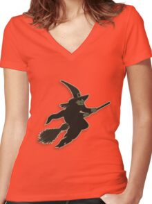 Witch on broom stick Women's Fitted V-Neck T-Shirt