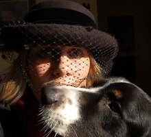 Odin, Diane and the black netted hat by Diane  Kramer