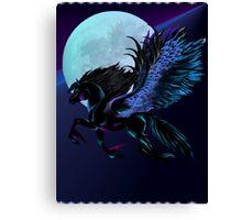 Black Pegasus and Blue Moon Canvas Print