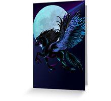 Black Pegasus and Blue Moon Greeting Card