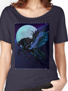 Black Pegasus and Blue Moon Women's Relaxed Fit T-Shirt