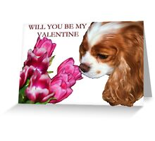 Cavalier King Charles Spaniel Valentine's Day Card Greeting Card