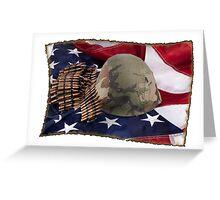 Helmet And Flag Greeting Card