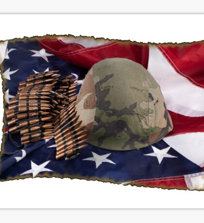 Helmet And Flag Sticker