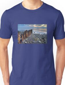 Worn Pilings on Rocky Shoreline  Unisex T-Shirt