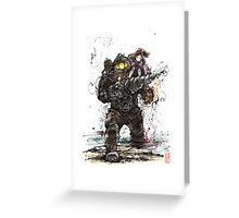 Bioshock Subject Delta with Little Sister sumi style Greeting Card